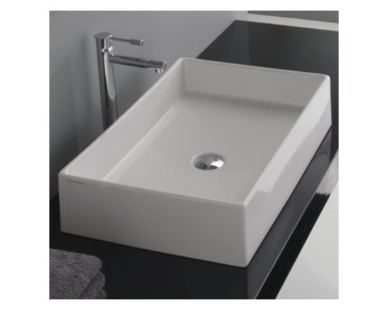 "Scarabeo - Trendy White Ceramic Vessel Bathroom Sink by Scarabeo - This rectangular vessel sink is made of high quality ceramic, comes in a glazed white finish, and is a perfect addition to any modern designed bathroom. It is made in Italy by Scarabeo. This above counter sink comes without overflow and has no faucet holes. Sink dimensions: 23.60"" (width), 5.10"" (height), 15.20"" (depth)"