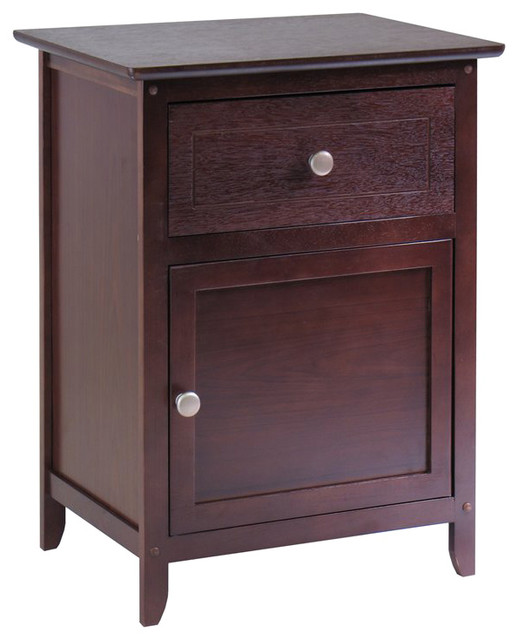 Winsome Nightstand Accent Table with Drawer and Cabinet in Antique Walnut transitional-nightstands-and-bedside-tables