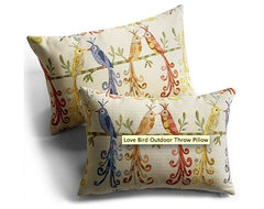 Love Bird Outdoor Throw Pillow eclectic outdoor pillows