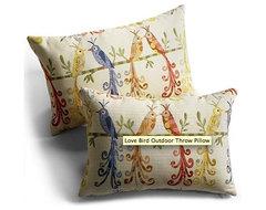 Love Bird Outdoor Throw Pillow eclectic-outdoor-pillows