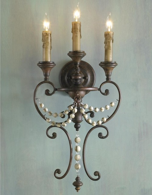 Distressed Wood Bead Sconce - 3 Lt. - Wall Sconces - by Shades of Light