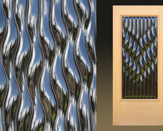 "Sculptural Glass Doors - ""Flow"" – Contemporary cast glass entry door -"