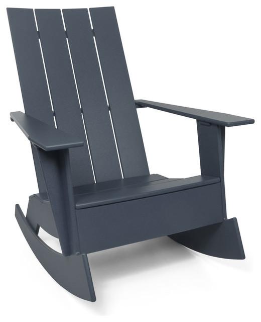 4 slat flat standard adirondack rocker charcoal grey contemporary outdoor rocking chairs