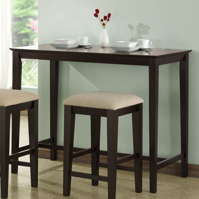 Cappuccino Oak Veneer 24in.x48in. Counter Height Kitchen Table contemporary-cups-and-glassware