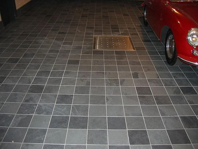 Slate on garage floor. modern