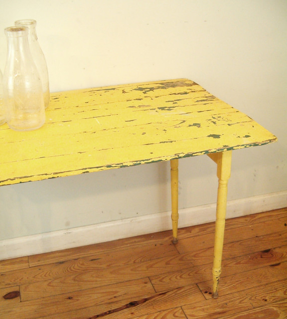 Antique Yellow Folding Table by goseek eclectic side tables and accent tables