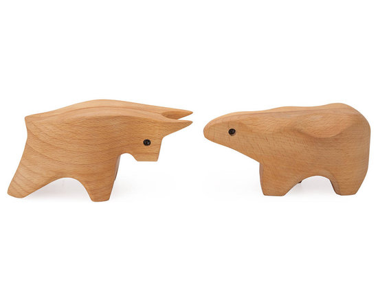 Bull and Bear Wooden Boxes -