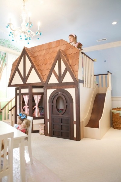 Girls Princess Castle Loft Bed eclectic-kids-beds
