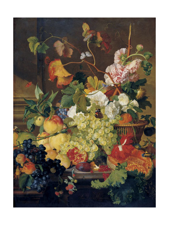 Still Life of Grapes Peaches a Melon and other Fruit | Huysum | Canvas Print - Condition: Canvas Print - Unframed