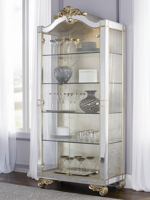 Jessica McClintock Couture Two Door Silver Leaf Curio Cabinet - Contemporary - Accent Chests And ...