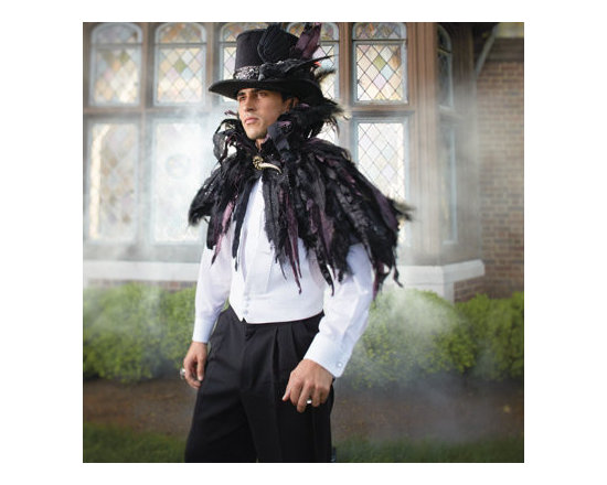 """Grandin Road - Halloween Feather Cape - Layers of black and purple lace and satin """"feathers"""" are adorned with natural feathers and shimmering sequins. An impressive stand-up collar and claw (hook and loop) closure provide designer detail you can't dig up anywhere else. Complementing black satin lining. An easy, one-piece way to dress yourself to kill, this Halloween. Spot clean. Wrap yourself in our stunning Feather Cape and the compliments will flock in. """"Dramatic"""" doesn't begin to describe its haunting beauty.  .  .  .  .  . A Grandin Road exclusive. Imported."""