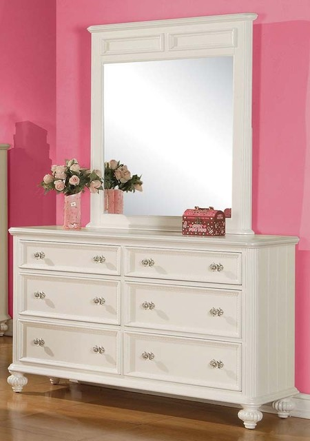 Acme Furniture Athena White 6 Drawer Dresser And Mirror