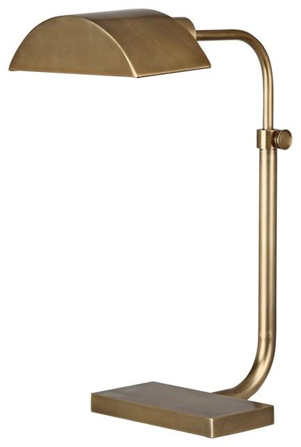 Contemporary Robert Abbey Koleman Aged Natural Brass Desk Lamp modern-table-lamps