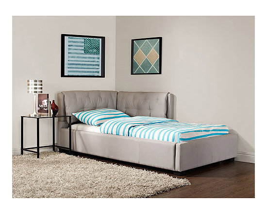 Tufted Lounge Reversible Twin Bed, Stone -