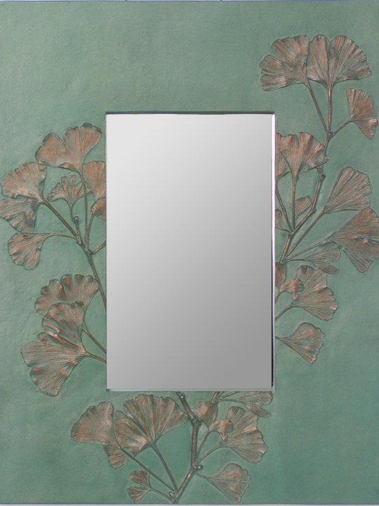 """Gingko Branch Mirror 36"""" - Deborah Childress"""