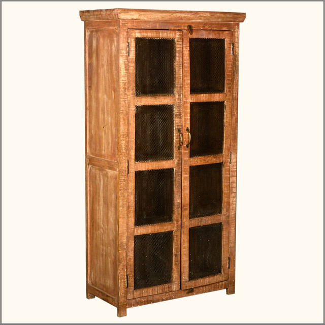 metal mesh window doors reclaimed wood storage cabinet. Black Bedroom Furniture Sets. Home Design Ideas