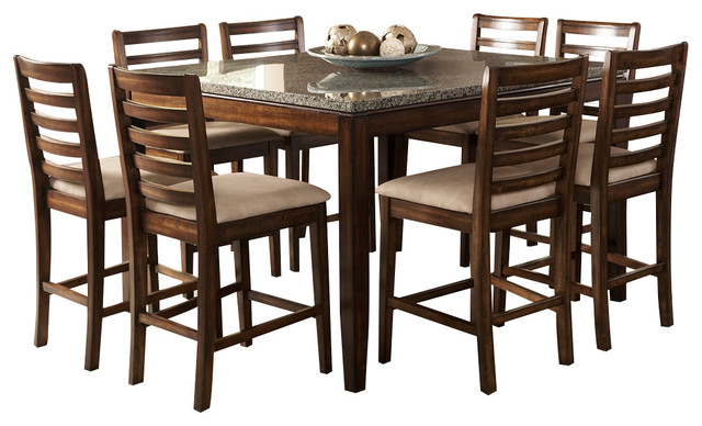 piece square counter dining room set in coffee traditional dining
