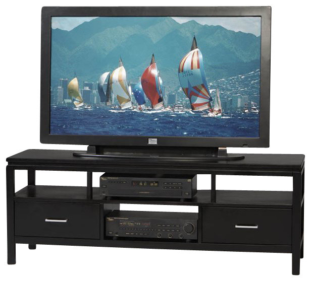 Linon Sutton Flat Panel/Plasma/LCD TV Stand in Black Finish - Modern - Entertainment Centers And ...