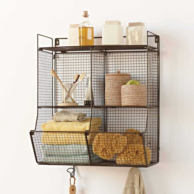 Metal 4 bin wire hanging shelf eclectic display and wall shelves by vivaterra - Wall metal shelf ...