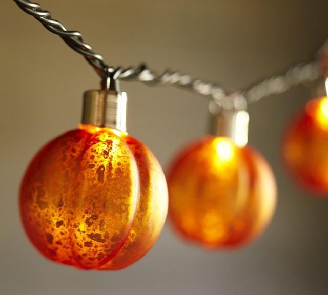 Orange Mercury Glass Pumpkin String Lights contemporary-holiday-decorations