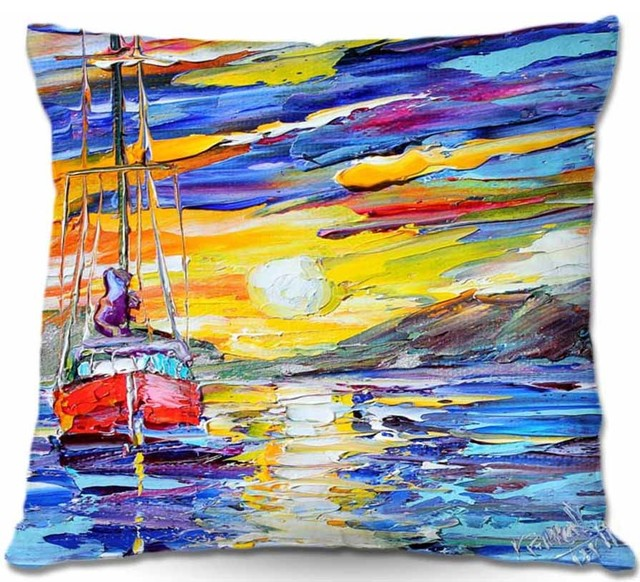 Pillow Woven Poplin from DiaNoche Designs - Sunrise Sailing contemporary-decorative-pillows