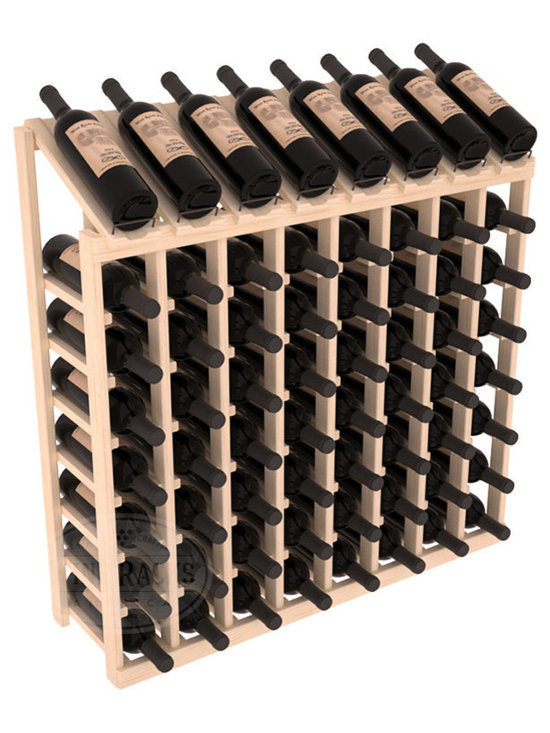 Wine Racks America - 64 Bottle Display Top Wine Rack in Pine, (Unstained) - Make your best vintage the focal point of your cellar or store. Eight of the best bottles are presented at 30 degree angles. Our wine cellar kits are constructed to industry-leading standards. You'll be satisfied. We guarantee it. Display top wine racks are perfect for commercial or residential environments.