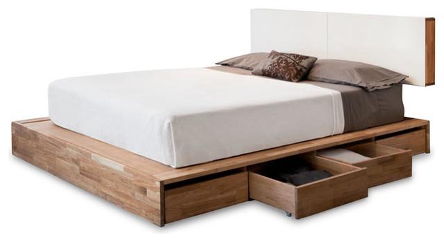 LAX Series Storage Platform Bed with Headboard - Modern - Beds
