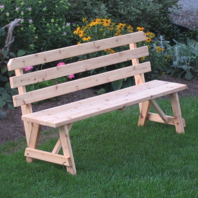 A & L Furniture Western Red Cedar Bench with Back - 251C-UNFINISHED contemporary-outdoor-stools-and-benches