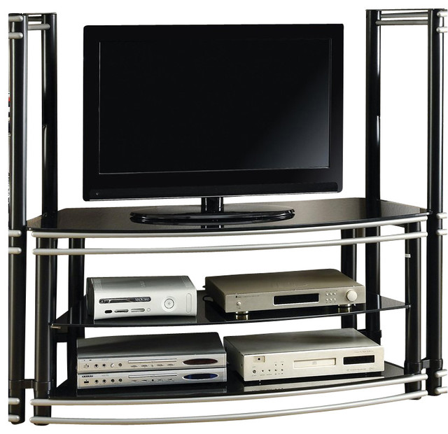Coaster Curved TV Stand in Black and Silver transitional-media-storage