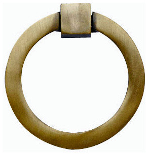 Mission Style Solid Brass Ring Pull, Antique Brass Finish ...