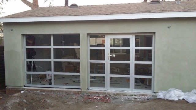 anodized aluminum clear tempered glass garage doors