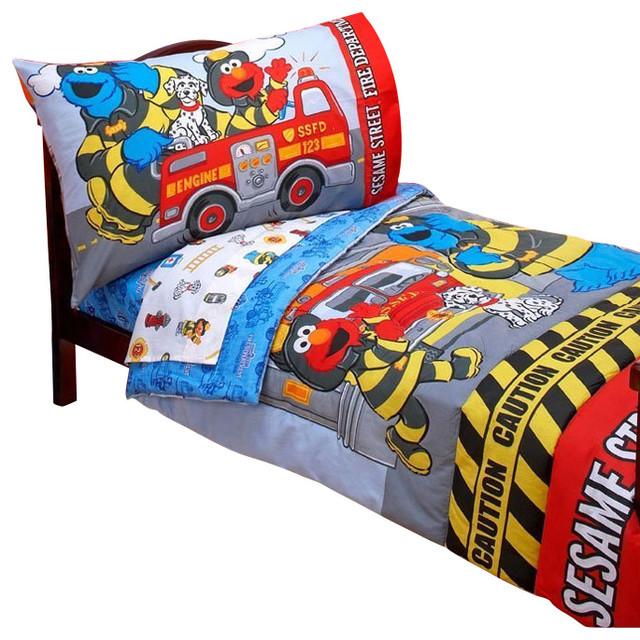 Sesame Street Toddler Bedding Set Elmo Fire Department Bed