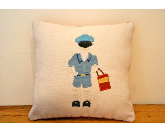 Postman Scatter Cushion - Everyday thousands of letters and packages are delivered by these humble workers. Celebrate this with a shabby chic cushion featuring a postie in a traditional get-up with red satchel.
