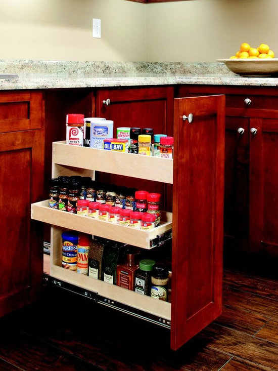 Pull Out Spice Rack - Store all your spices in our custom pull out spice rack.  Convert an existing cabinet, even if it is currently hinged.