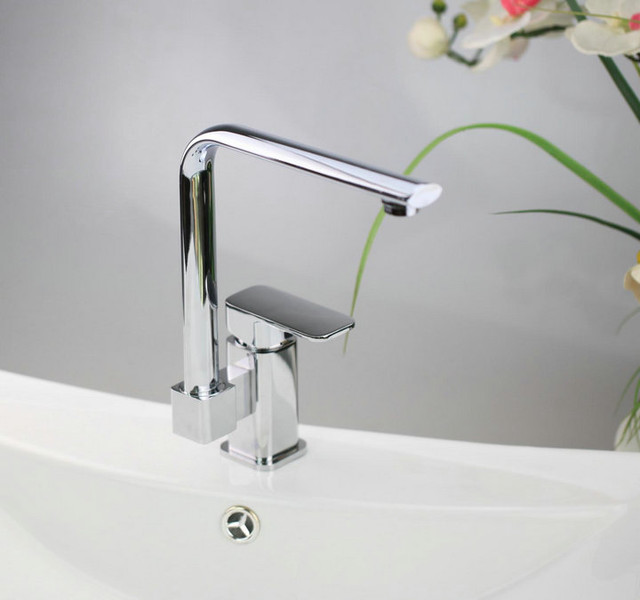 Solid Brass swivel Kitchen Faucet - zcm chrome finish modern-kitchen-faucets