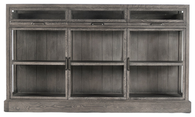 Hazel Creek Industrial Loft Gray Oak Display Entertainment Wall Cabinet transitional-storage-units-and-cabinets