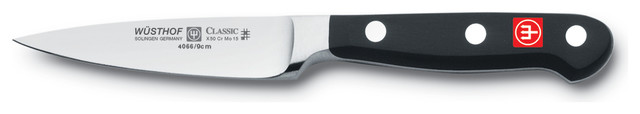 """Wusthof Classic Paring Knife, Stainless Steel, Black, 3.75"""" contemporary-paring-knives"""