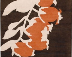 Tufted Pile Brown/Orange Buds Rug modern-rugs
