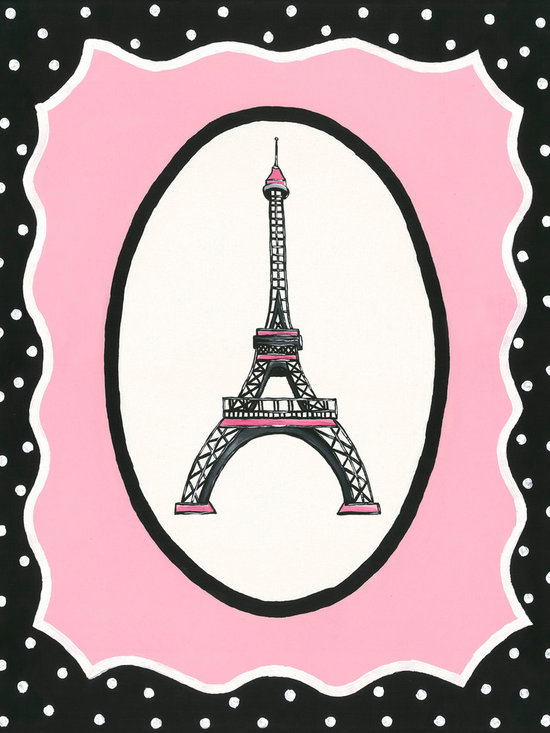 Sherri Blum, Jack and Jill Interiors, Inc. - Oui Paris Eiffel Tower Canvas Wall Art, Pink Black Nursery Decor - Seeking french theme nursery art or decor for your little girl who loves Paris? Take you and your little one to France's most adored icon with Sherri Blum's whimsical wall art for children in pink surrounded by black and white polka dots. Indulge in chic kids' wall decor for your little bambin, creating the perfect Parisian presence.