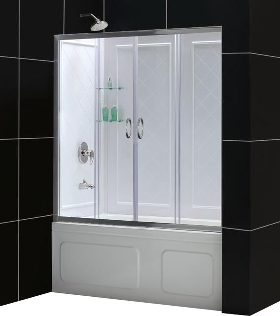 "Visions 56 to 60"" Frameless Sliding Tub Door and QWALL-Tub Backwalls Kit modern-showers"