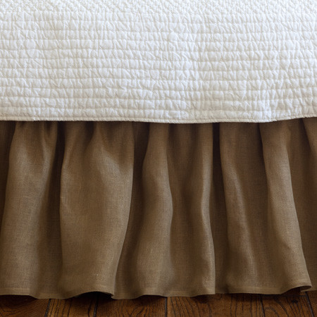 Linen Voile Tobacco Ruffled Twin Bed Skirt traditional-bedskirts