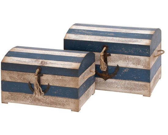 Benzara - Trunk with Striped Pattern and Anchor Figurine - Set of 2 - Trendy and sophisticated, these wood trunks resolve your space constraint issues. You can stow these wooden trunks in the bedroom to tidy up your personal space. These playful trunks have a chafed appearance which enhances its rustic look. It displays a white and blue tinted striped pattern that augments the overall design. The trunks are equipped with rope handles, one in the front and one on either side. There is an anchor figurine affixed on the trunks to provide it a vintage look. These wooden trunks also feature cups at the bottom. These trunks are well-spaced, and efficiently store all your essentials. Made out of sturdy wood, these trunks are sure to last for years to come. This set of trunks looks like a collectible and is a perfect gift for anyone who indulges in maritime and nautical collectibles..