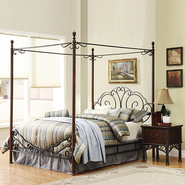 Leann Gracefull Scrool Iron Metal King Size Canopy Bed
