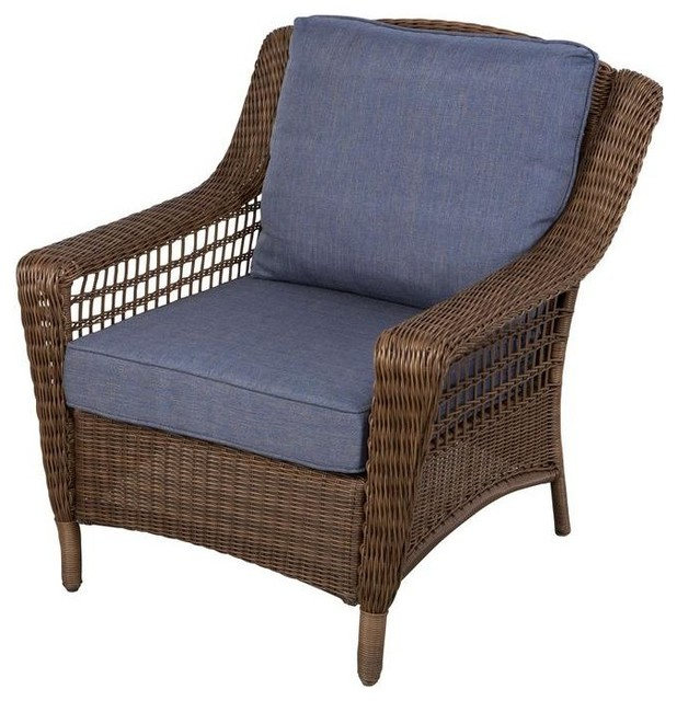 Hampton Bay Chairs Spring Haven Brown All Weather Wicker Patio Lounge Chair