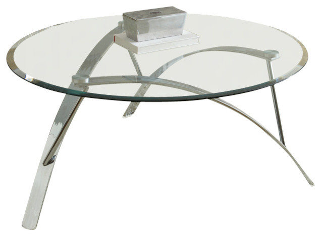 Steve Silver Xavier 3 Piece Glass Top Coffee Table Set With Chrome Base Traditional Coffee: one piece glass coffee table