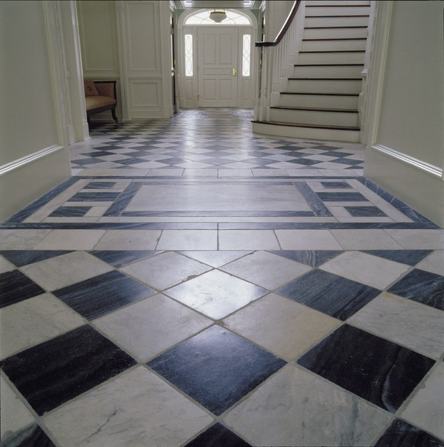 Antique Reclaimed Spanish Grey and White marble floor-tiles