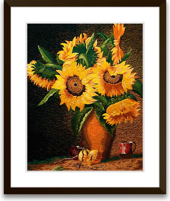 Blossomed Sunflowers - Hand Designed Silk Art, Silk Embroidery asian-artwork