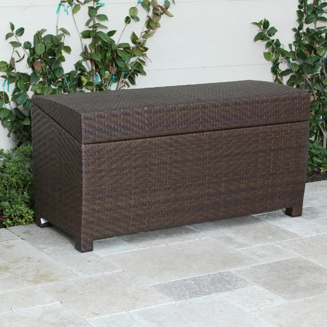 Christopher Knight Home Outdoor Wicker Storage Chest Contemporary Outdoor