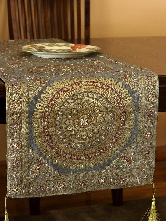 "Elegant Table Runners - ""Oriental Dabka"" table runner design. Striking Golden Silver color. Elegant complement to any room. Indian made."