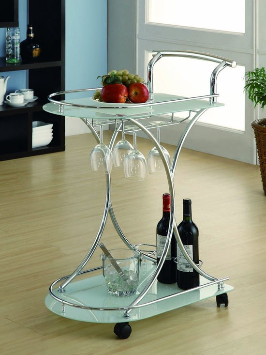 Kitchen Furniture - Contemporary Chrome Frosted Glass Serving Cart